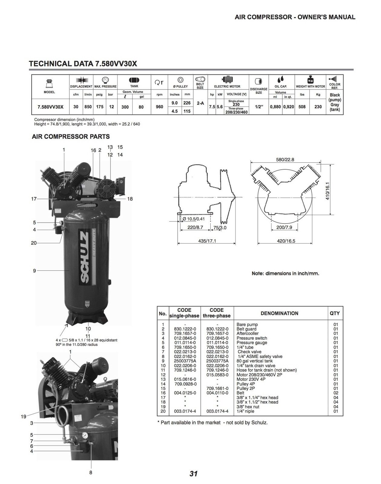 Schulz Compressor Wiring Diagram For Circuit And Hub Hermetic Embraco V Series 7 5 Hp 80 Gallon Two Stage Air 1 Ph Or 3 Rh Schulzproducts Com Craftsman