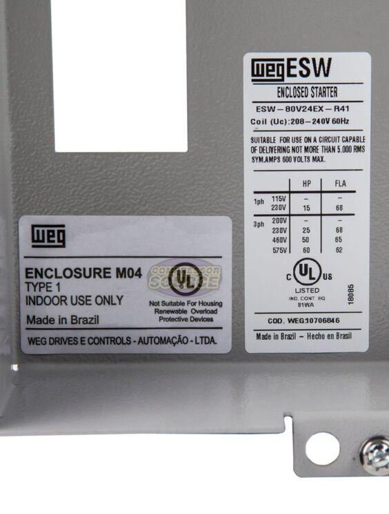 WEG MAGNETIC STARTER FOR ELECTRIC MOTOR AIR COMRPESSOR 7.5 HP 3 PHASE 460V 12AMP